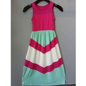 Girl's Pink Mint Chevron Long Tank Maxi Dress L